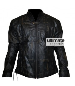 Men Distressed Black Motorcycle Leather Jacket