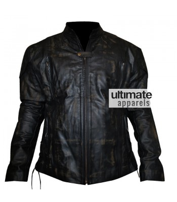 Men Distressed Black Motorcycle Leather Jacket