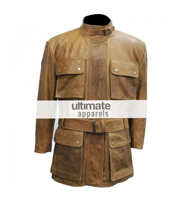 Men Distressed Light Brown Belted Moto Long Jacket