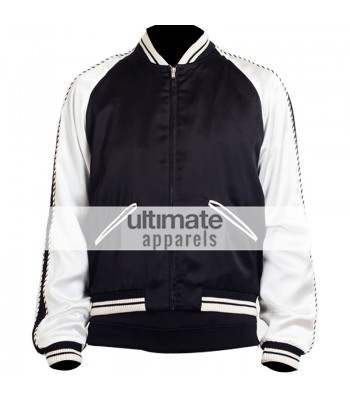 Designer's Men Lightweight Black and White Satin Jacket