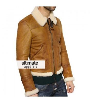 Designers Men Shearling Winter Tan Motorcycle Jacket