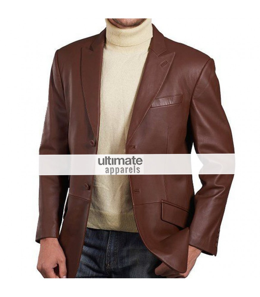 Blazers Jackets Mens: Mens Brown Leather Blazer Jacket Coat