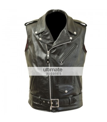 Men's Perfecto Midweight Cowhide Motorcycle Black/Brown Vest