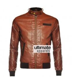 Slim Fit Men's Vintage Bomber Brown Faux Motorcycle Jacket