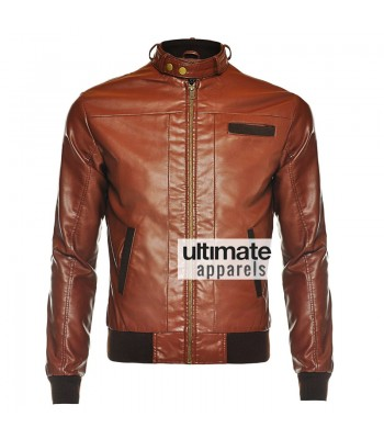 Slim Fit Men's Vintage Bomber Brown Faux Motorcycle Jacket