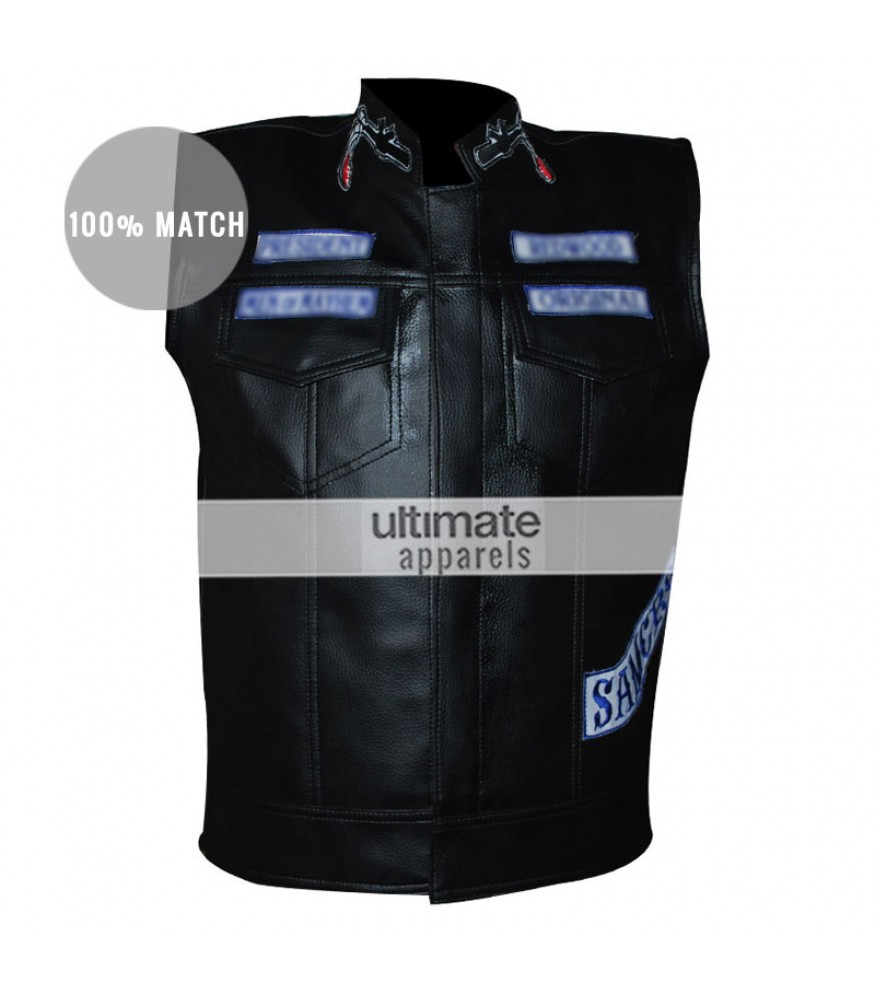 Sons Men's Black Anarchy Biker Vest With Patches