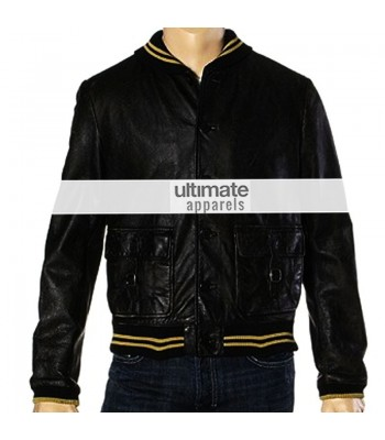 Spread Ashton Kutcher Nikki Black Bomber Jacket