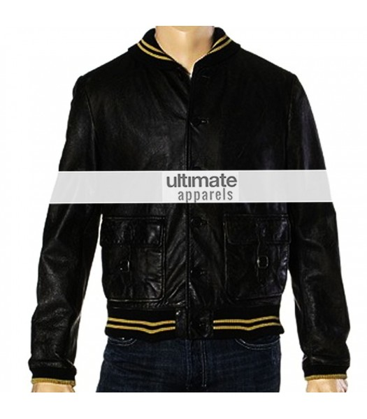 Spread Ashton Kutcher Nikki Black Bomber Jacket