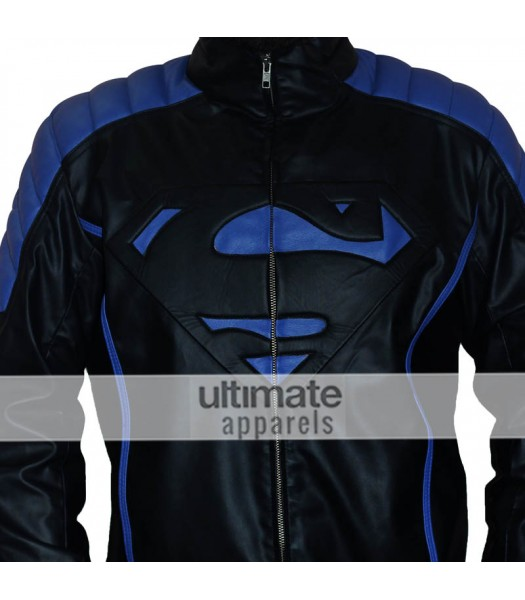Superman Style Men's Black With Blue Stripes Jacket