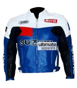 Suzuki Men's Blue And White Motorcycle Leather Jacket