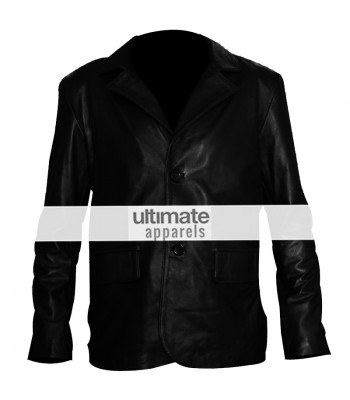 Classic Mens Black Leather 2 Button Blazer Jacket