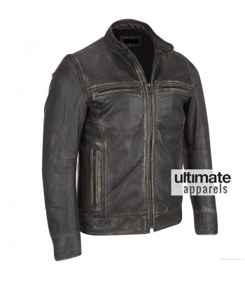 Arrow Black Rivet Faded Leather Moto Jacket