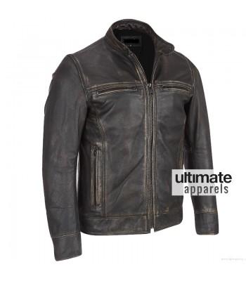 Arrow Black Rivet Faded Leather Moto Jacket