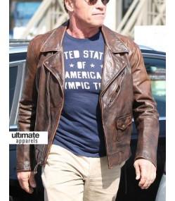 Arnold Schwarzenegger Brown Distressed Leather Hummer Jacket