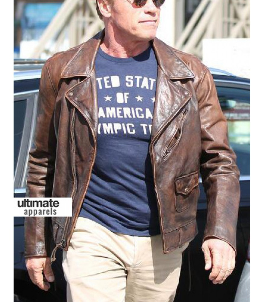 Arnold Schwarzenegger Brown Distressed Leather Hummer Jacket