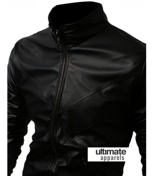 Black Biker Men Bomber Body Fitted Jacket