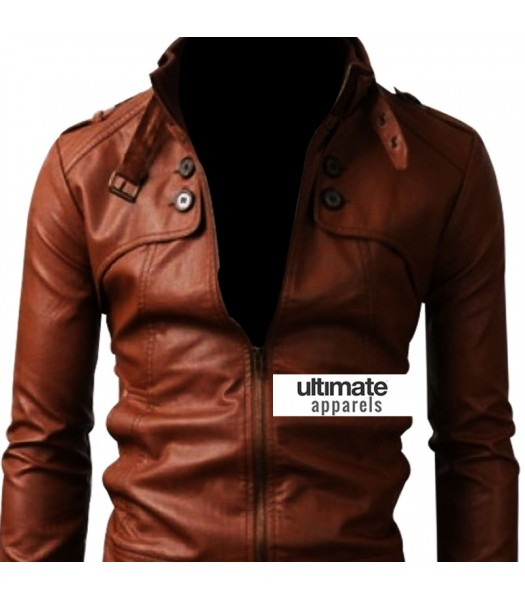 Slim Fit Button Pocket Light Brown Jacket For Men Sale