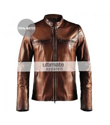 Cafe Racer Vintage Men's Brown Motorcycle Leather Jacket