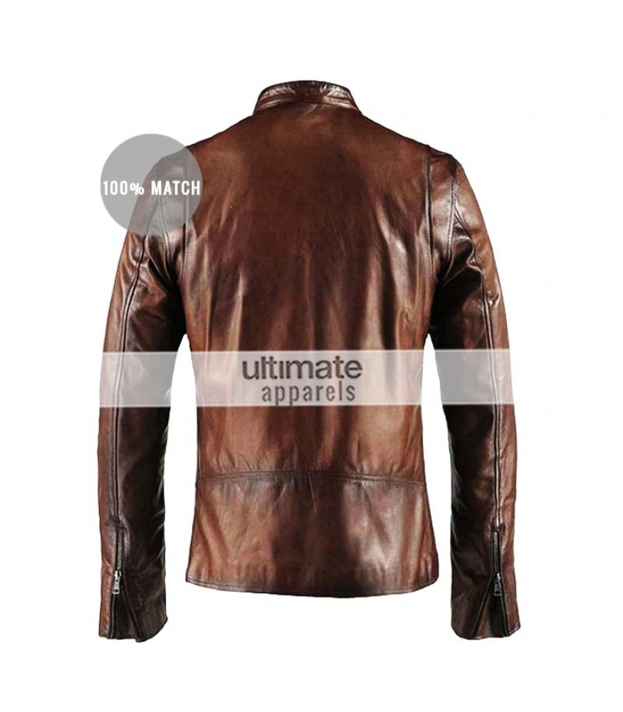 Cafe Racer Vintage Men's Brown Motorcycle Leather Jacket