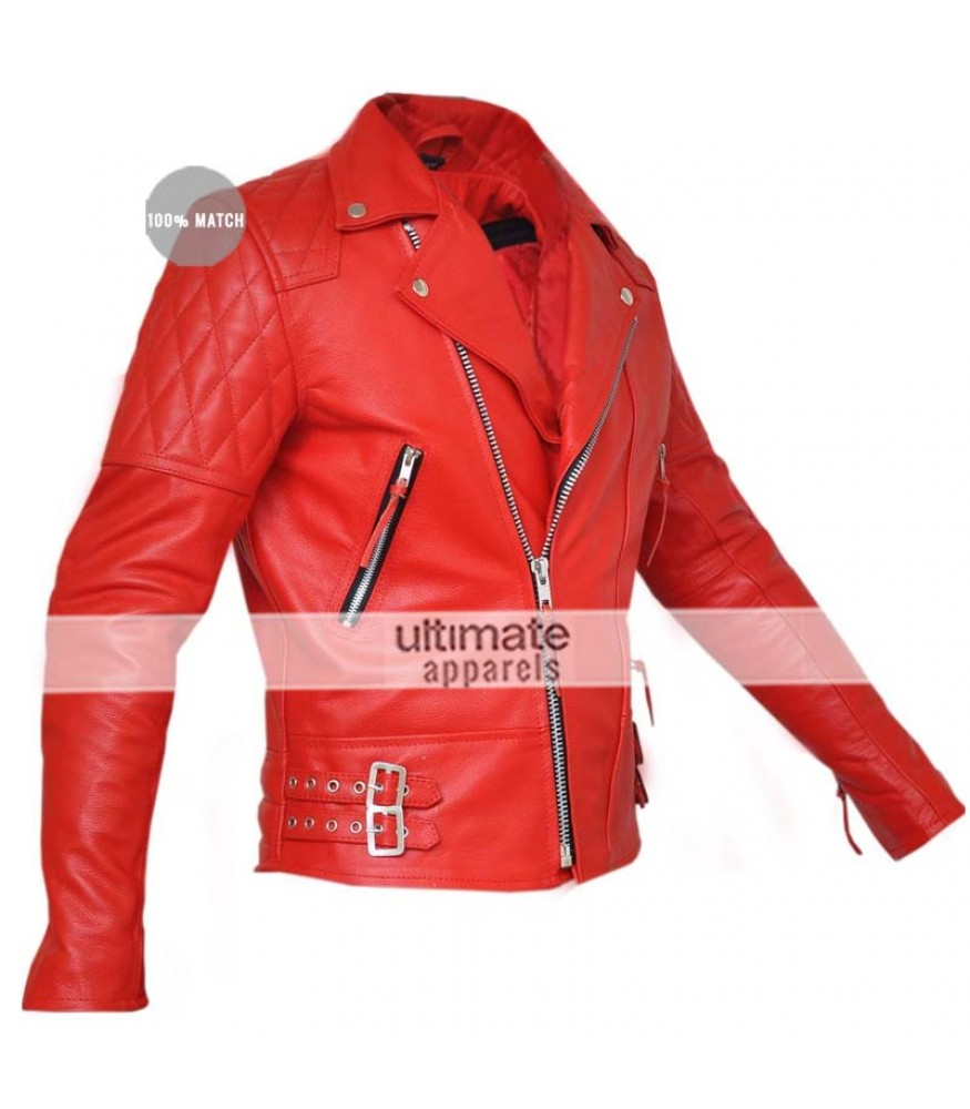 Classic Diamond Men's Red Armored Motorcycle Leather Jacket
