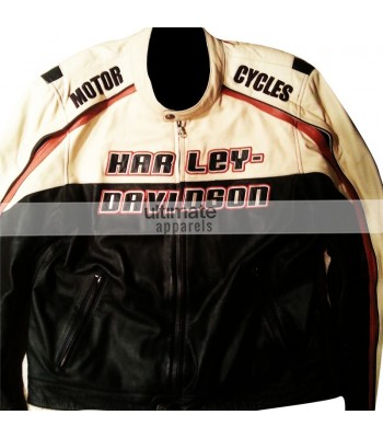 Harley Davidson Mens White Motorcycle Leather Jacket