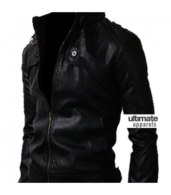 Button Pocket Black Slim-Fit Leather Jacket