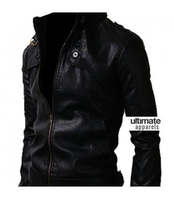 Button Pocket Black Slim-Fit Leather Jacket