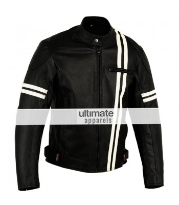 X-men Men's Motorcycle Black Jacket With White Stripes