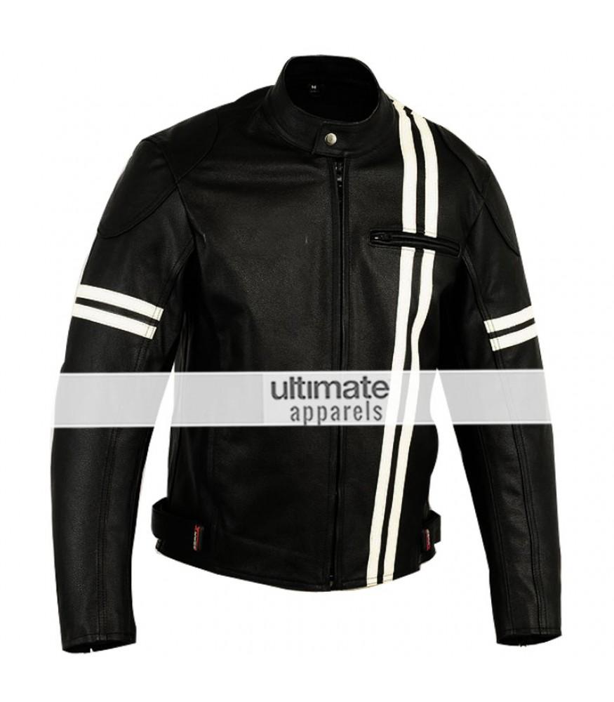 X-men Men's Motorcycle Black Jacket With White Stripes