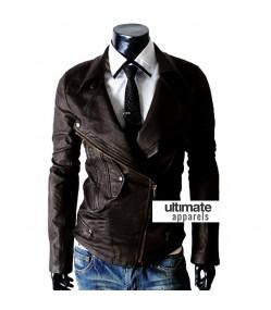 Multi Pocket Slim-fit Rider Dark Brown Men Jacket
