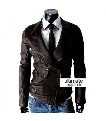 Multi Pocket Slim-fit Rider Dark Brown Men Jacket