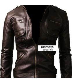 Zip Pocket Slim-fit Black Men Leather Jacket