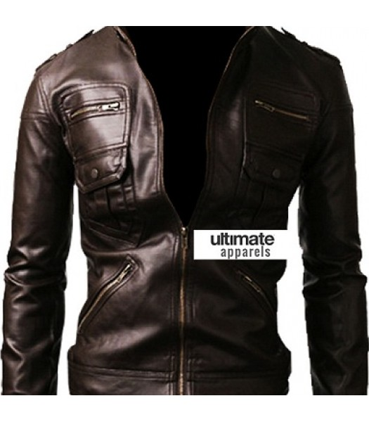 Zip Pocket Slim-fit Black Men Leather Jacket