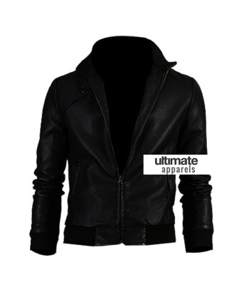 Slim Fit Men Black Bomber Leather Jacket