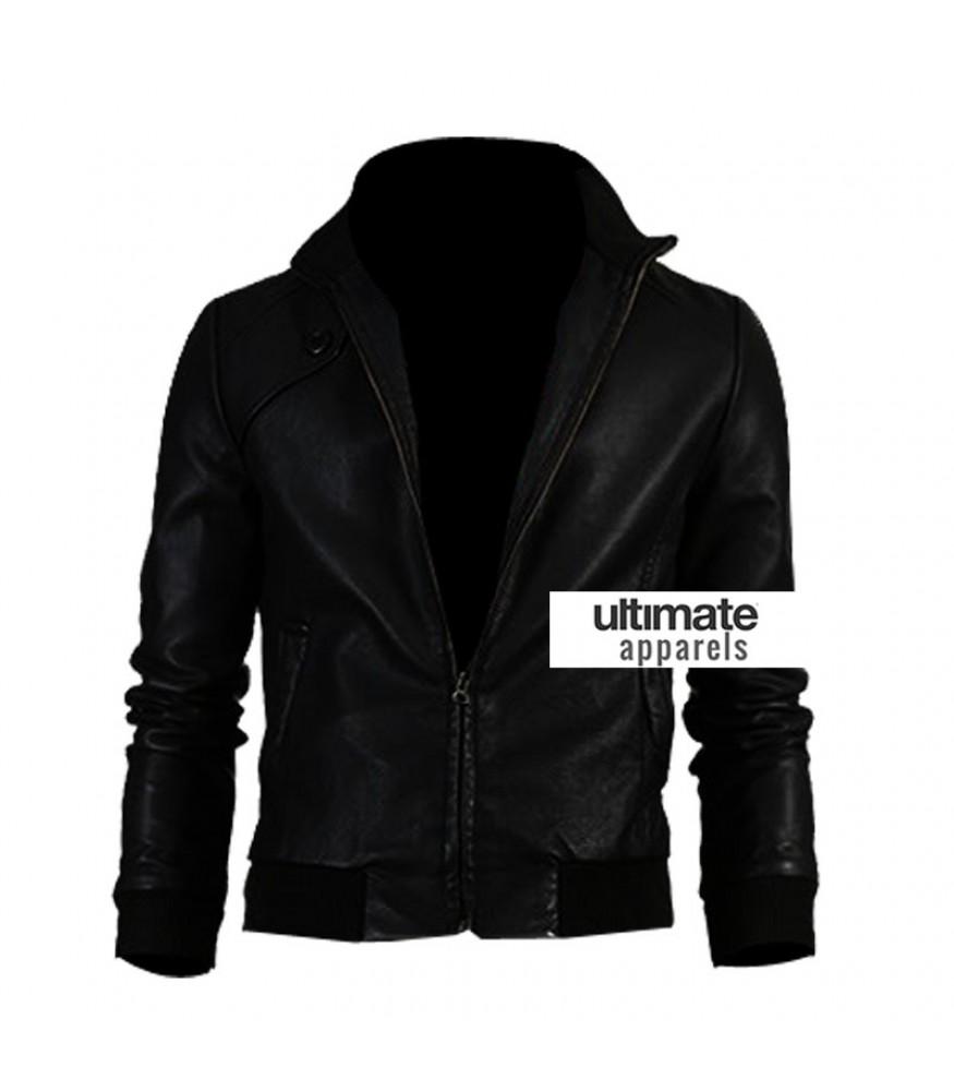 Slim Fit Men Black Bomber Leather Jacket