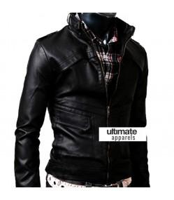 Slim Fit Strap Zipper Neck Black Leather Jacket