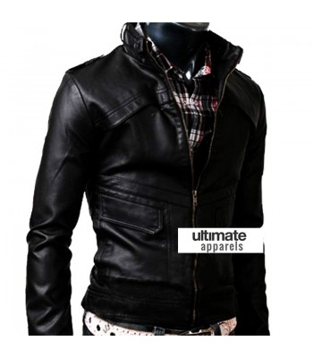 Slim Fit Strap Zipper Neck Black Leather Jacket