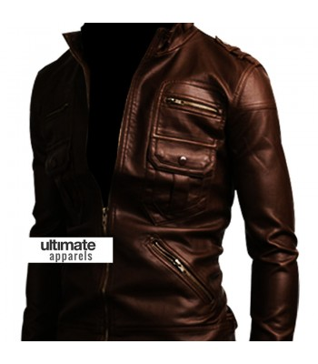 Slim Fit Zip Pocket Dark Brown Men Leather Jacket