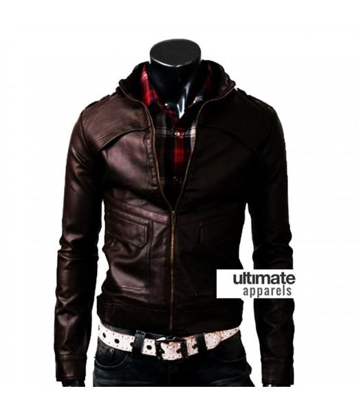 Strap Zipper Men Dark Brown Slim Fit Leather Jacket