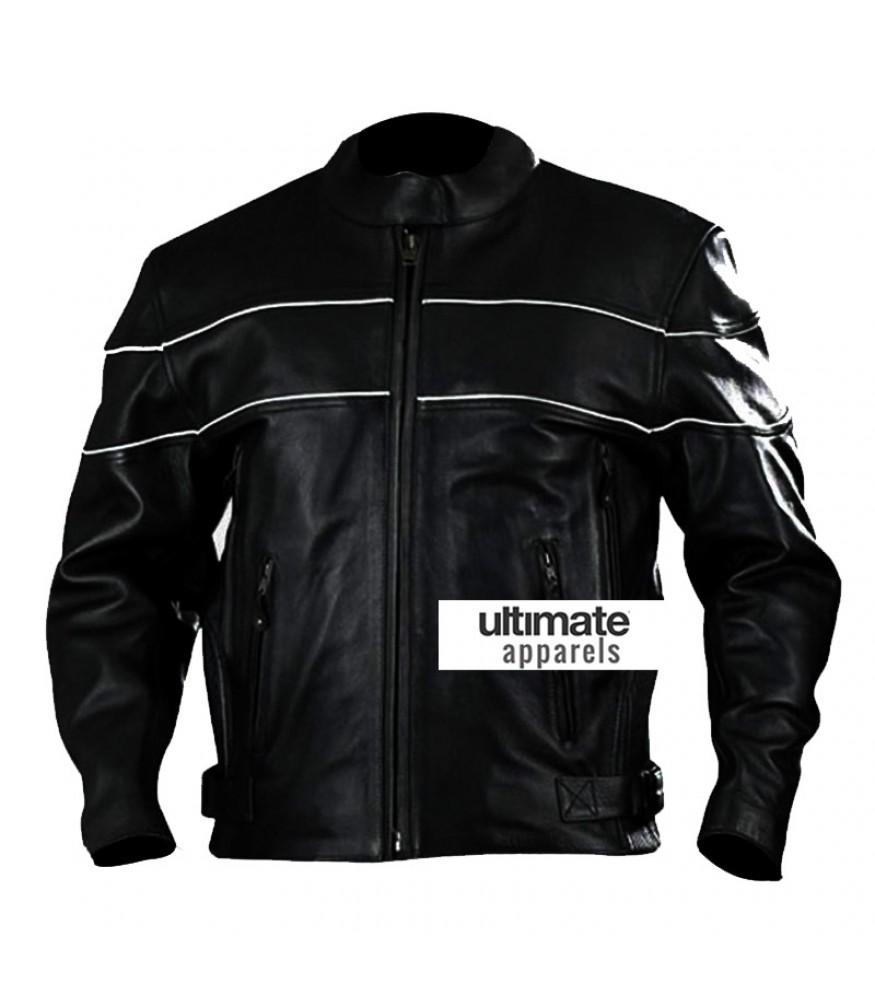 Vented Men's White Stripes Black Motorcycle Leather Jacket
