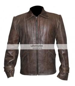 Vintage Men's Distressed Brown Leather Jacket Clothing