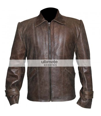 Vintage Men's Distressed Brown Leather Jacket Clothing