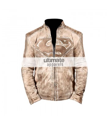 Light Brown & Green Superman Men Distressed Moto Jacket