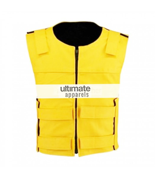 Men Velcro Strip Yellow Biker Leather Vest