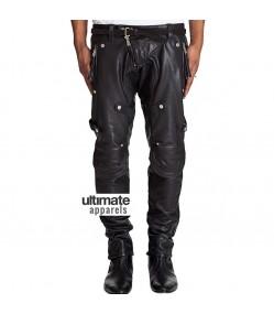 Men Stylish Motorcycle Padded Black Leather Pant