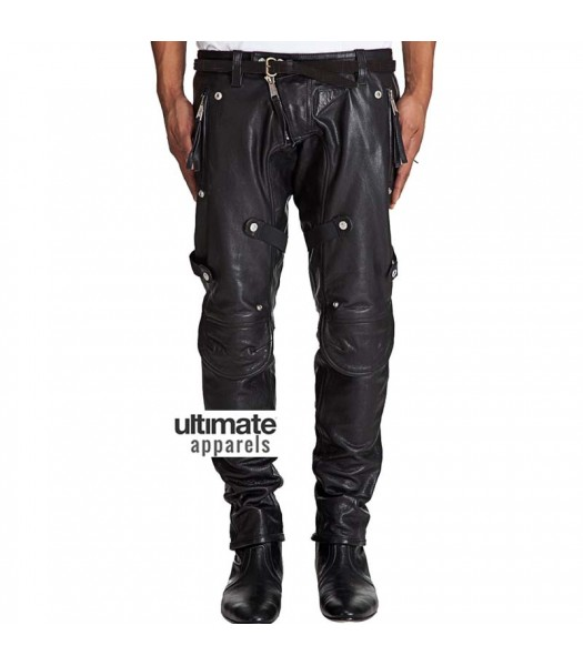 Men Stylish Motorcycle Padded Black Leather Pant