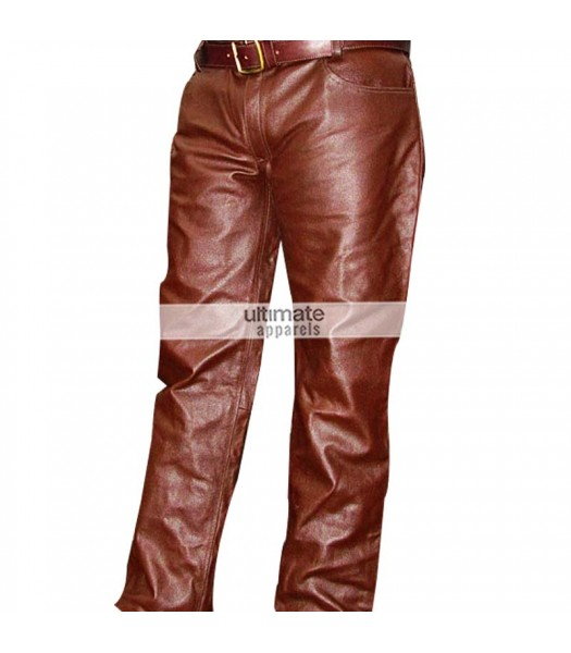 Men's Brown Real Leather Pants For Sale
