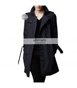 Burberry London Mens Cotton Twill Trench Black Coat