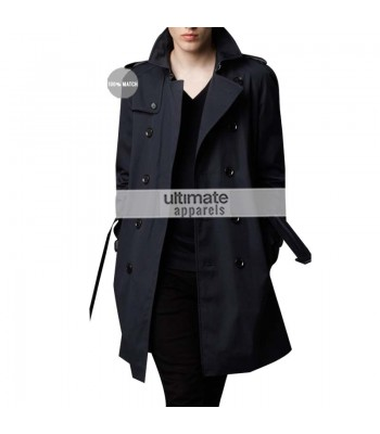 Burberry London Mens Cotton Twill Trench Black Coat