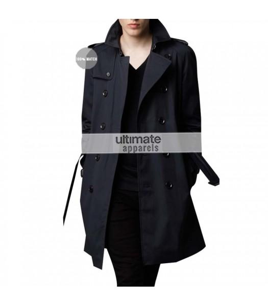 Burberry London Replica Mens Cotton Twill Trench Black Coat